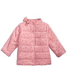 First Impressions Baby Girls Flocked Dot Puffer Jacket, Created for Macy's