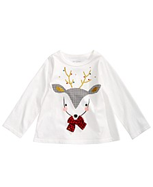 Baby Girls Reindeer Appliqué T-Shirt, Created For Macy's
