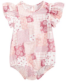 First Impressions Baby Girls Cotton Printed Flutter-Sleeve Bodysuit, Created for Macy's