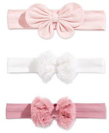 First Impressions Baby Girls 3-Pk. Faux-Fur-Bow Headbands, Created For Macy's