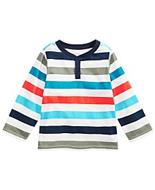 First Impressions Baby Boys Cotton Striped Henley Top, Created for Macy's