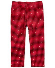 Toddler Girls Cotton Glitter-Print Check Leggings, Created For Macy's