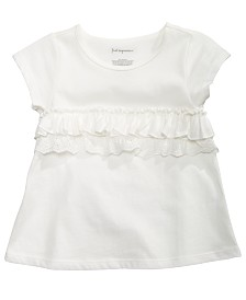 First Impressions Baby Girls Cotton Ruffle-Trim T-Shirt, Created for Macy's