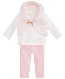 Baby Girls 3-Pc. Fur Vest, Ruffle Mock Turtleneck & Leggings Set, Created for Macy's