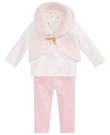 First Impressions Baby Girls 3-Pc. Fur Vest, Ruffle Mock Turtleneck & Leggings Set, Created for Macy's