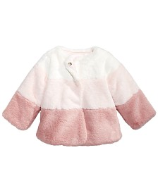 First Impressions Baby Girls Colorblocked Faux Fur Coat, Created For Macy's