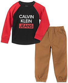 Little Boys 2-Pc. Colorblocked Logo Sweatshirt & Twill Jogger Pants Set