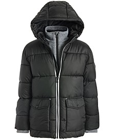 Big Boys Hooded Puffer Jacket With Fleece Bib