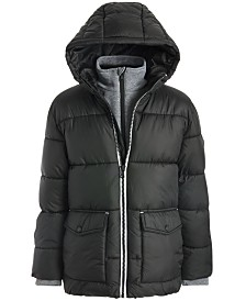 Michael Kors Little Boys Hooded Puffer Jacket With Fleece Bib