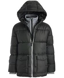 Michael Kors Big Boys Hooded Puffer Jacket With Fleece Bib