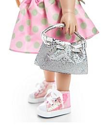 "18"" Doll Clothes Accessories, Glitter Designer Shoulder Handbag Purse"