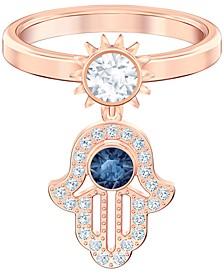 Rose Gold-Tone Cubic Zirconia Hamsa Hand Statement Ring