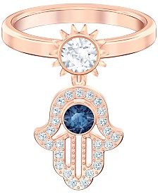 Swarovski Rose Gold-Tone Cubic Zirconia Hamsa Hand Statement Ring