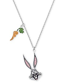 "Swarovski Silver-Tone Crystal Bugs Bunny Pendant Necklace, 14-7/8"" + 1/2"" extender"