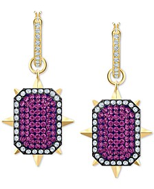 Gold-Tone Crystal Reversible Drop Earrings