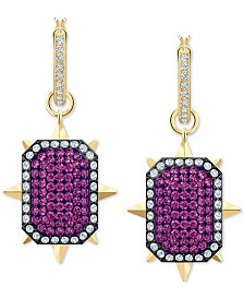 Swarovski Gold-Tone Crystal Reversible Drop Earrings