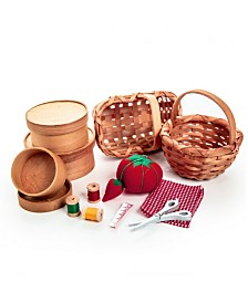 "18"" Doll Little House on the Prairie Baskets and Shaker Boxes With 7 Piece Doll Sewing Accessory Set"