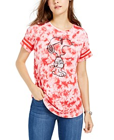 Juniors' Cotton Tie-Dyed Snoopy T-Shirt