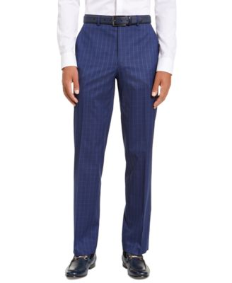 Men's Classic-Fit Stretch Blue Houndstooth Windowpane Suit Separate Pants