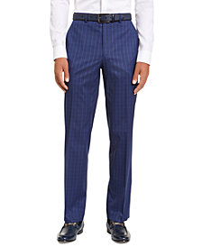 Sean John Men's Classic-Fit Stretch Blue Houndstooth Windowpane Suit Separate Pants