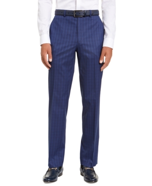 1920s Men's Pants, Trousers, Plus Fours, Knickers Sean John Mens Classic-Fit Stretch Blue Houndstooth Windowpane Suit Separate Pants $40.00 AT vintagedancer.com