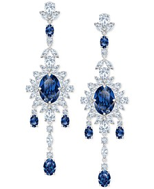 Silver-Tone Crystal Flower Chandelier Earrings