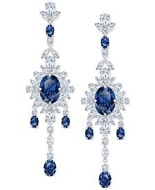 Swarovski Silver-Tone Crystal Flower Chandelier Earrings
