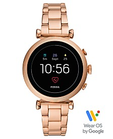 Fossil Women's Tech Gen 4 Sloan HR Rose Gold-Tone Stainless Steel Bracelet Touchscreen Smart Watch 40mm