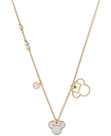 "Swarovski Gold-Tone Crystal Minnie Mouse Pendant Necklace, 16"" + 1/2"" extender"