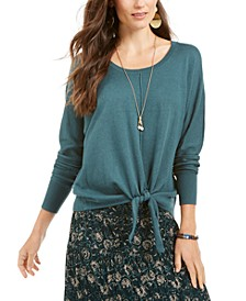 Petite Tie-Front Sweater, Created for Macy's