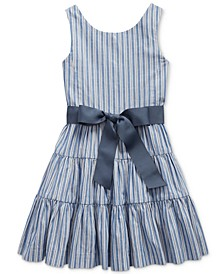 Little Girls Striped Cotton Dobby Dress