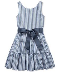 Little Girls Striped Cotton Dobby Dress