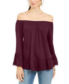 Style & Co Petite Off-The-Shoulder Ruffled Top, Created for Macy's