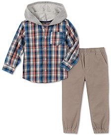 Little Boys 2-Pc. Plaid Hooded Shirt & Twill Jogger Pants Set