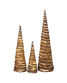 Lighted Champagne Grapevine Trees - Set of 3