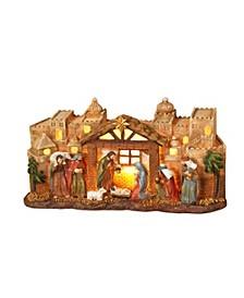 Lighted Nativity Scene with Manger and Bethlehem Backdrop