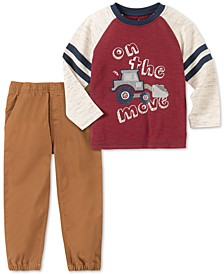 Little Boys 2-Pc. On The Move Colorblocked Bulldozer Appliqué T-Shirt & Twill Jogger Pants Set