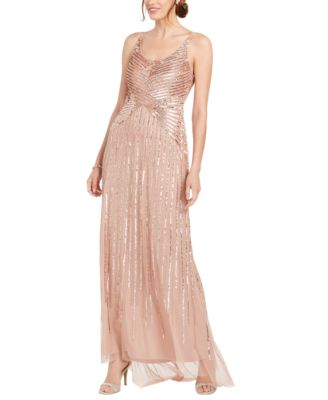 Adrianna Papell Womens Beaded Long Dress Petite