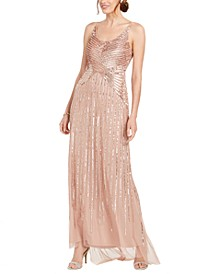 Petite Beaded & Sequined Gown