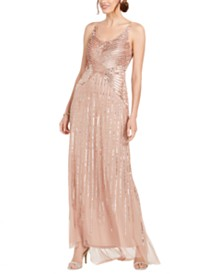 Adrianna Papell Beaded & Sequined Gown