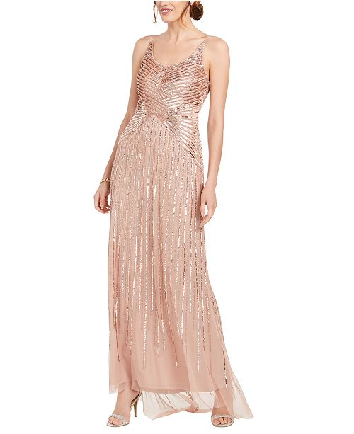 Adrianna Papell Petite Beaded & Sequined Gown