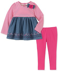 Kids Headquarters Toddler Girls 2-Pc. Striped Chambray Tunic & Leggings Set