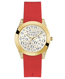 Women's Red Silicone Strap Watch 39mm