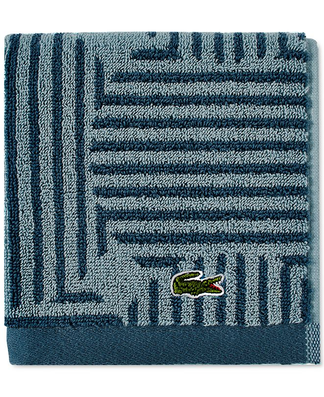 "Lacoste Geo Compass Cotton 13"" x 13"" Washcloth"