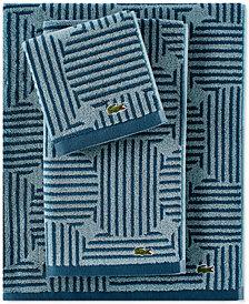 Lacoste Geo Compass Cotton Bath Towel Collection