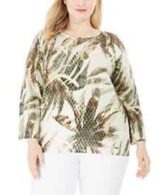 Alfred Dunner Plus Size Cedar Canyon Textured Leaf-Print Sweater