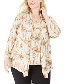 Boardroom Floral-Print Layered-Look Necklace Top