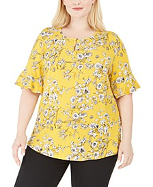 Plus Size Printed Keyhole Top, Created for Macy's