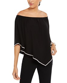 MSK Off-The-Shoulder Rhinestone Top