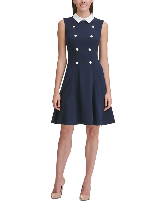 Tommy Hilfiger - Crepe-Collar Fit & Flare Dress
